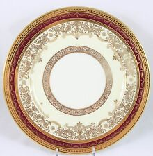 3 GILT ANTIQUE DINNER PLATES LENOX CHINA J306R RAISED GOLD ENCRUSTED MAROON RED