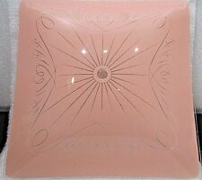 "VINTAGE PINK Glass Ceiling Light Square Shade  12"" * 12"""