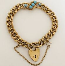 Fine Antique Victorian 18ct Rolled Gold - Turquoise Padlock Bracelet - C1890