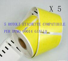 5 X Etichette Compatibili per DYMO 99014 Y 101mmX54mm gialle LABELWRITER 400 450