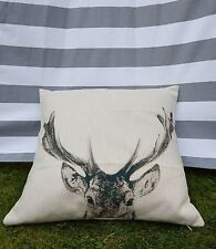 Deer Cushion Cover. Reindeer, Christmas, Cotton Canvas, Designer, Natural