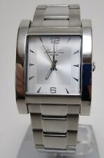 Kenneth Cole Men's Silver Dial Stainless Steel Watch Square Face KC9142 Mint!