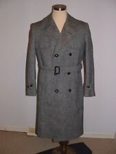 VTG Herringbone Pure Wool Top Over Coat mens Sz 40R Double Breasted Belted MINTY