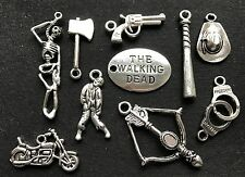 10 x WALKING DEAD CHARMS - Zombie Baseball Bat Gun Skeleton Crossbow Hat Axe