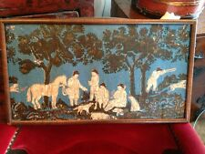 c1835 American Colonial Hand Painted Folk Art Wallpaper Fragment The Hunt Ex MIA