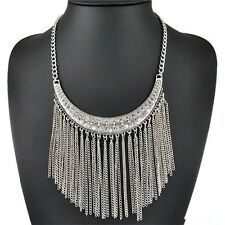 Bohemian Woman Fashion Retro Silver Crystal Tassel Chain Crescent Bib Necklace