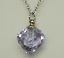 CREMATION JEWELRY LAVENDER CREMATION URN NECKLACE GLASS PRISM PENDANT KEEPSAKE