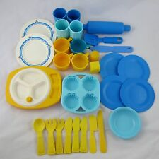 Fisher Price Fun with Food Dish Lot 30 Pieces Blue & Yellow Pretend Play Kitchen