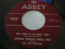 Hear Rare Piano Bopper 45: Jim Dandies on Abbey - How Many G's In Peggy, Paw?