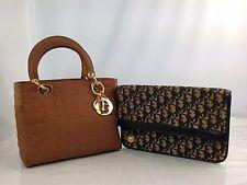 Auth Christian Dior Lady Dior Hand Bag & Clutch 2 set Vintage 7A250220