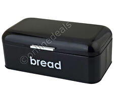 BLACK POWDER COATED RETRO FLAT TOP BREAD BIN KITCHEN STORAGE BOX LOAF CONTAINER