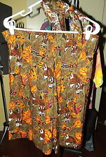 WOMENS ~BROWN AFRICAN SAFARI Shorts ~ORANGE TIGER relaxed SIZE LARGE~ USA SELLER