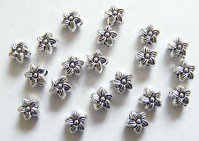 40 Metal Antique Silver Flower Shape Spacer Beads - 6.5mm