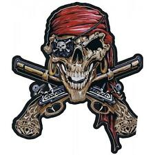 Lethal Threat Motorcycle Jacket Bike Embroidered Patch XL - PIRATE SKULL LT30086