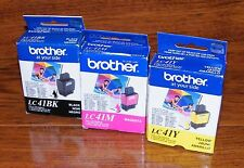 Genuine Brother (LC41BK, LC41M, & LC41Y) Black, Magenta, & Yellow Ink *Sealed*