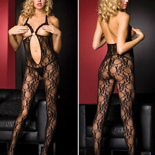 Black Keyhole Bodycon Suit Lace Cupless Open Breast Crotchless Ring Bodystocking