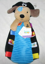 Taggies Pirate Puppy Dog Cuddler Security Blanket Lovey Rattle Toy Blue Black