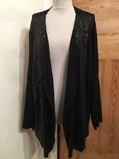 Ann Harvey Size 4 -26/28/30 Black Sequin Front Waterfall Cardigan REDUCED!!!