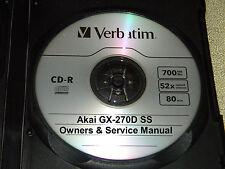Akai Gx-270D Ss Reel To Reel Tape Deck Operator'S & Service Manual On A Cd