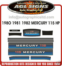 MERCURY 115 hp OUTBOARD DECALS 1980 - 1982 reproductions stickers, also 90 hp