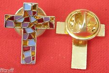 Stained Glass Effect Holy Cross Lapel Pin Badge Religious Christian Brooch