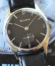Vintage Bulova Elegant & Thin Watch Black Dial Manual Movement Looks/Runs Nice
