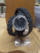 Ladies Black GENEVA CRYSTAL DIAL RUBBER BAND WRAP FASHION  WRIST WATCH QUART