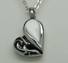 HEART CREMATION JEWELRY BLACK WHITE HEART URN NECKLACE MEMORIAL KEEPSAKE