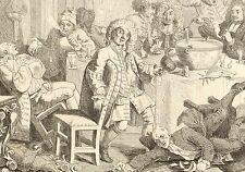 1818 Grabado Cobre Hogarth georgiano ~ una conversación moderna de medianoche