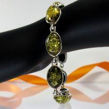 A056 Armband Bracelet 925 Sterling Silber Bernstein Schmuck Grün Amber 21 cm