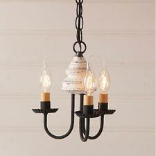 Primitive new Bellview vintage white 3 arm wood chandelier light / FREE SHIPPING