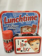 NEW I LOVE LUCY LUNCH TOTE SALT & PEPPER SHAKERS 3 PIECE TIN LUNCH BOX THERMOS