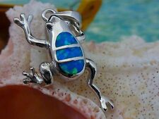 POLISHED STERLING SILVER BLUE FIRE OPAL FROG PENDANT