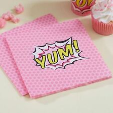 "Napkins ""YUM"" Pack of 20 - Pink Pop Art Superhero Girl Birthday Party Napkins"