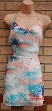 NEW LOOK WHITE NUDE BLUE PALM TREE PRINT CUT OUT SIDES A LINE MINI TEA DRESS 8 S