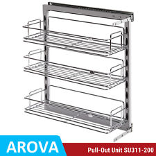 Pull Out Pantry Organiser Kitchen Base Storage Wire Basket For 200mm Cabinet