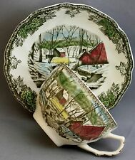 JOHNSON BROS TEACUP & SAUCER-THE FRIENDLY VILLAGE/THE ICE HOUSE  K 226