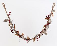 "Nature's Berry Autumn Floral Garland Fall Leaves Red Berries, 60"" Long"