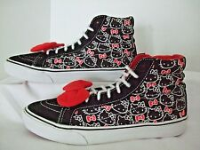 VANS SKATE SNEAKERS Hello Kitty Black White Red Bow Women's 8.5 MENS 7  NICE!!
