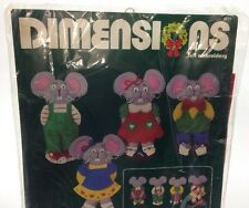 Dimensions 9511 Christmas Mouse Surprise Felt Embroidery Ornament Set of 4 VTG