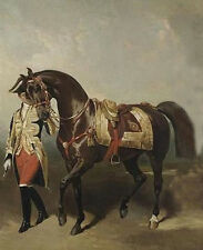 Oil painting Alfred Dedreux - Men lead a red horse canvas