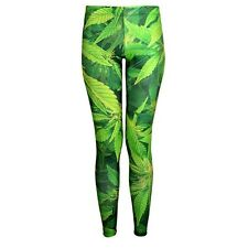 WOMEN MARIHUANA WEED HIERBA CANNABIS BIG LEAF LEGGINGS PANTS MUJER MARIA
