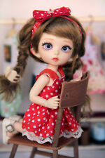 PREORDER! Red polka dots sun dress for Pukifee Lati Yellow bjd doll tiny outfit