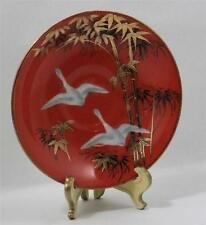 Asian Hand Painted Saucer White Cranes Bamboo Gold Leaf CPO Japan RARE