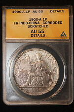1900 A French Indo-China. Piastre. ANACS Graded AU-55 Det.