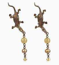 VTG 1982 STEPHEN DWECK 925 SILVER BRASS ALLIGATOR DROP PEARL BEAD CLIP EARRINGS