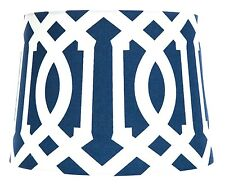 Geo Pattern Art Deco Style Navy Blue White Tapered Ceiling/lamp Light Shade NEW