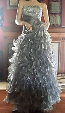 Silver Beaded Evening Gown Prom Pageant Ball Formal Wedding Dress Gown Size 4-6