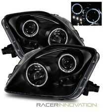 For 97-01 Honda Prelude Angel Eye Halo Projector Headlights Black