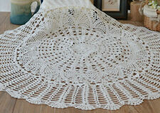 "32"" Round White Hand Crochet Table Cloth Runner Topper Pineapple Floral Wedding"